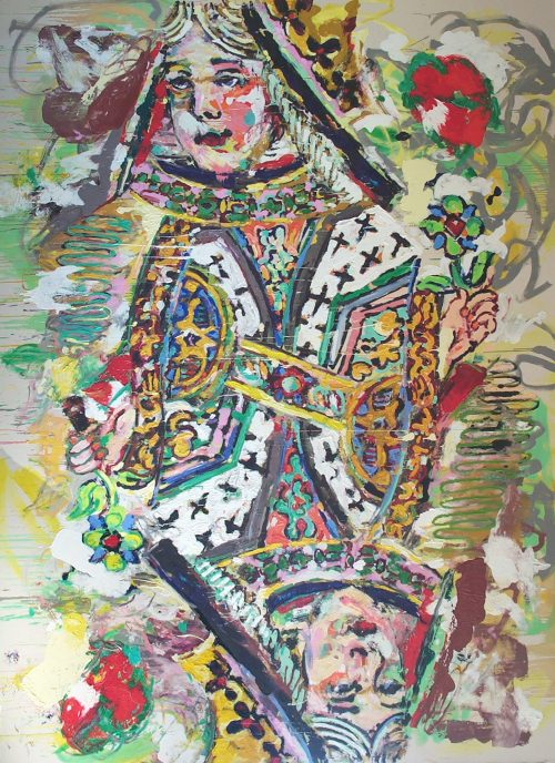 """LARGE Queen of Hearts"" 2003. Oil on Canvas. 182""X 138"""
