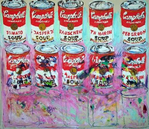"""5 Empty Soup Cans"" 2005, Oil on canvas. 68""X 76"""