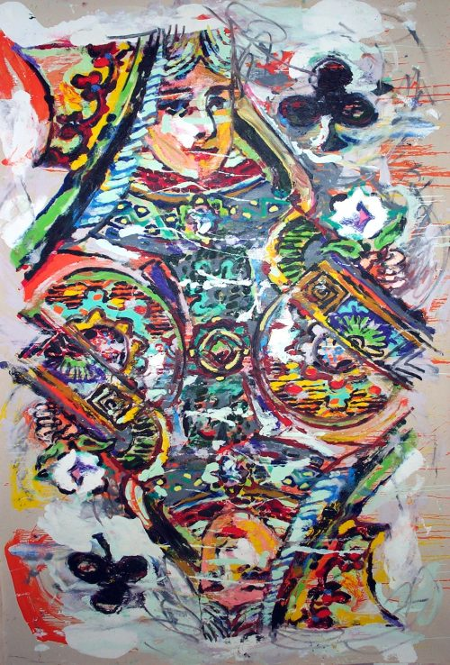 """""""The Queen of Clubs"""" 2003, Oil on Canvas. 138""""X 96"""""""