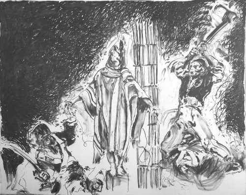 """""""Abu Gareb, The OLD World Order"""" 2005, Charcoal on Canvas. 107""""X 140"""""""