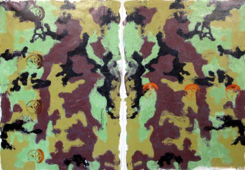 """ Fukushima Bat Rorschach"" 2016, Oil / Canvas, 68in.X 96in."