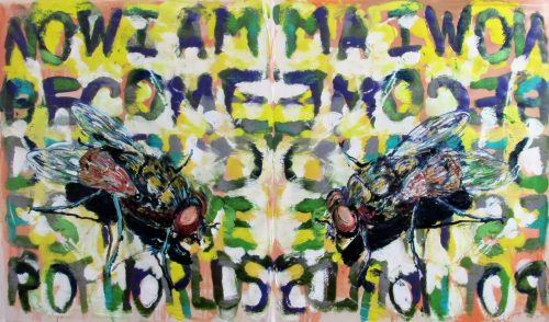 """""""Fukushima Fly""""(Fission Painting) 2015, Oil / Canvas, 68in.X 120in."""