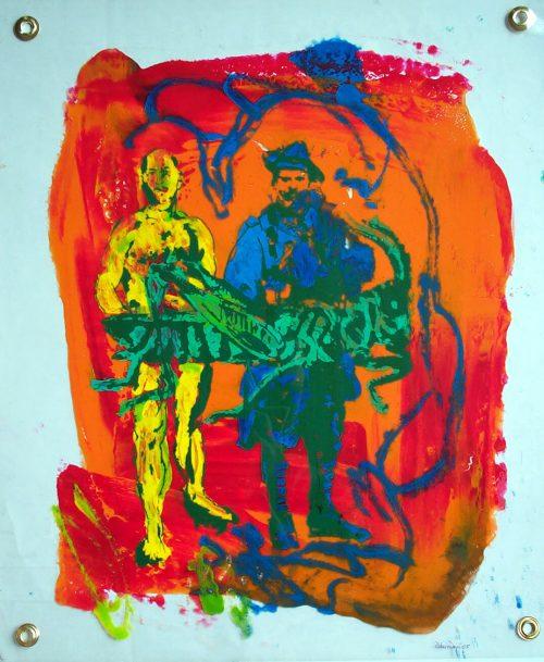 """Locust"" 2005, Oil, Screen Print, Duralar. 20""X16"""