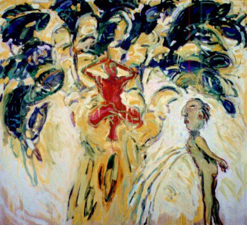 """""""Yogology #2 - Tree Man"""" 2003. Oil on Canvas. 68""""X 72"""""""