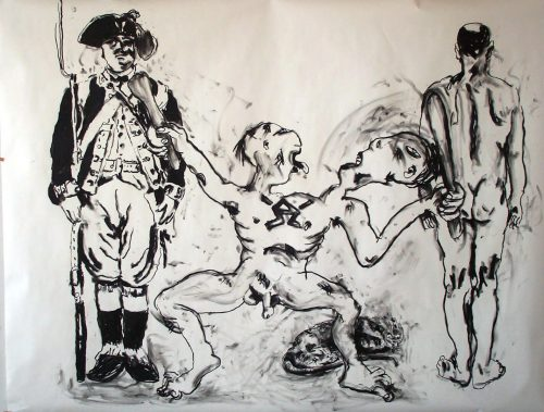 """Abel of War"" 2005, Charcoal on Paper/Canvas. 80""X 105"""