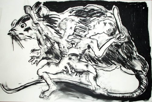 """Abel Son of War"" 2005, Charcoal on 2ply paper. 40""X 60"""