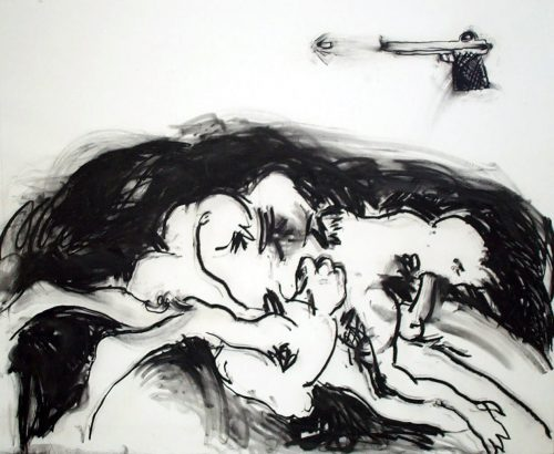 """Round-about Midnight"" 2002, Charcoal on Paper. 53""X 68"""
