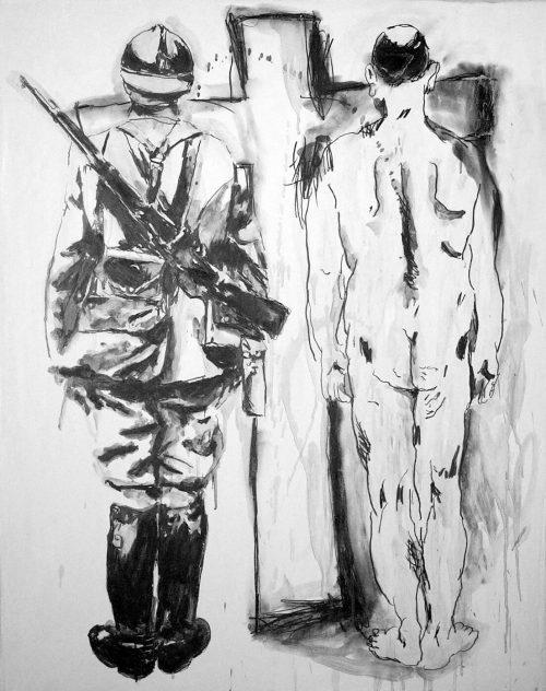 """Belgian Cross"" 2004, Graphite on Gesso Panel. 36""X 24"""