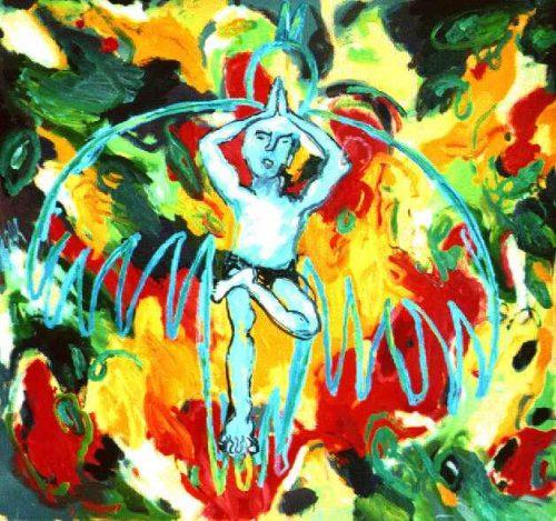 """""""Bird Man"""" 2002. Oil on Canvas. 62""""X 66"""""""