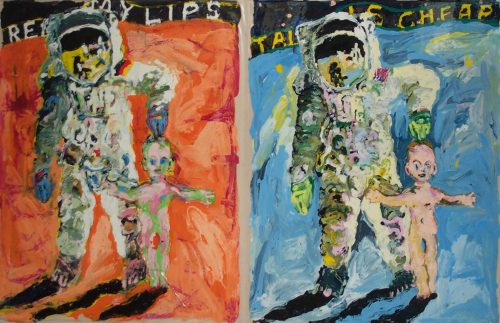 """Read My Lips - Talk is Cheap"" 2008, (Diptych) Oil on Duralar/Canvas 60in.X 84in."
