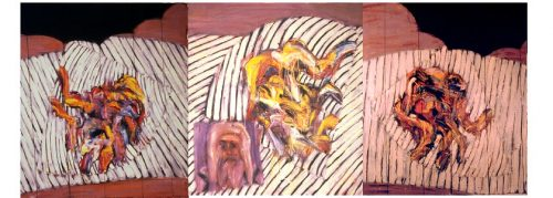 """Circus Scene with Metropolitan"" (Triptych) 1982. Oil on Canvas. 56""X 160"""