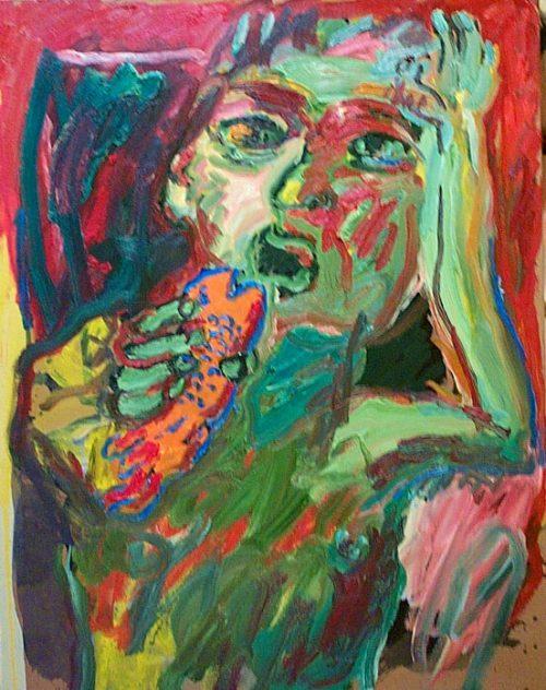 """Conversation"" 2000. Oil on Canvas. 34""X 28"""