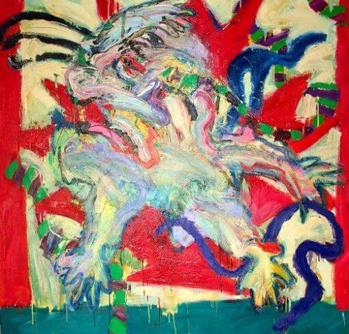 """""""Curtain Call For A Flag"""" 1987. Oil on Canvas. 78""""X 78"""""""