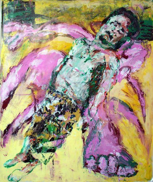 """Gaddafi's Assassin"" 2011, Oil / Ink / Canvas, 76inX 72in."