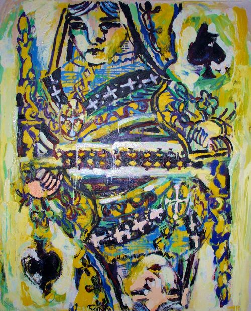 """The Queen of Spades"" 2003, Oil on Canvas. 96""X 80"""
