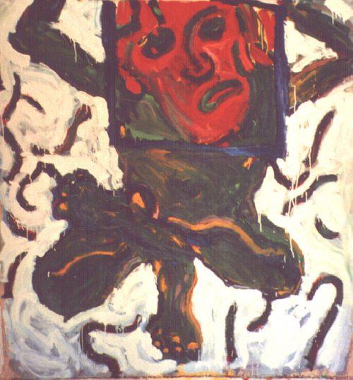 """Extreme Yoga Apprentice"" 2000. Oil on Canvas. 56""X 48"""