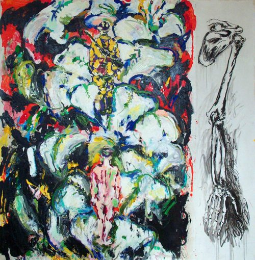 """Flower Study"" 2004, Oil & Graphite on Canvas. 80""X 72"""