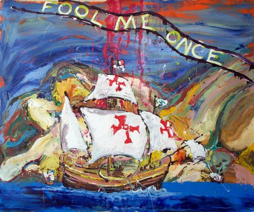 """Fool Me Once - (Mr. Bush)"" 2009, Oil / Canvas, 56in.X 60in."