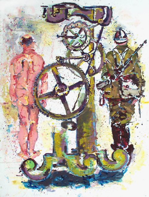"""""""Quattrocento Gallows"""" 2005, Acrylic on Paper / Canvas. 105""""X 80"""""""