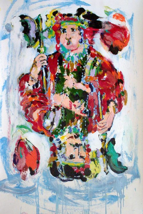 """German Jack of Hearts"" 2004, Oil on Paper. 40 ""X 60"""