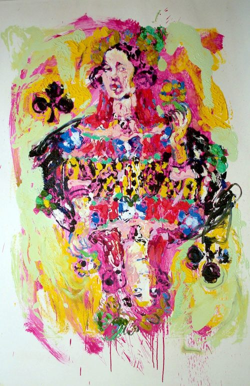 """German Queen of Clubs"" 2004, Oil on Paper. 40 "" X 60"""