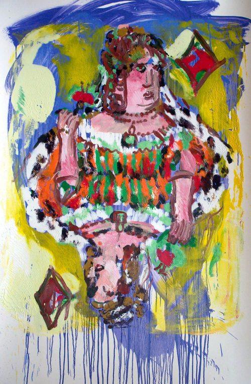 """""""German Queen of Diamonds 2004, Oil on Paper. 60 """"X 40"""""""