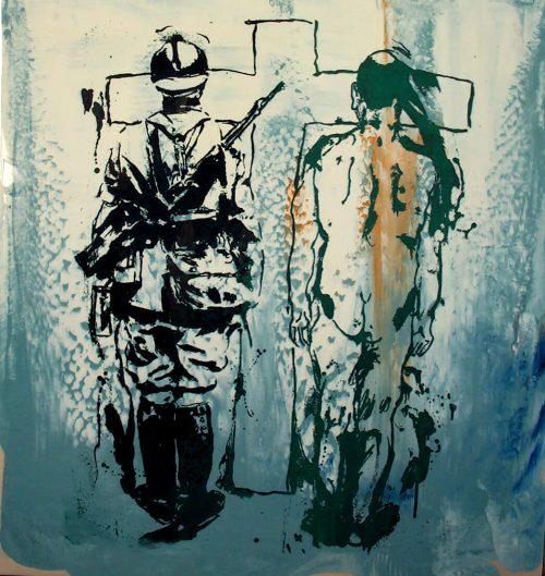 """Gettysburg"" 2005, Oil on Duralar / Canvas. 40""X 32"""