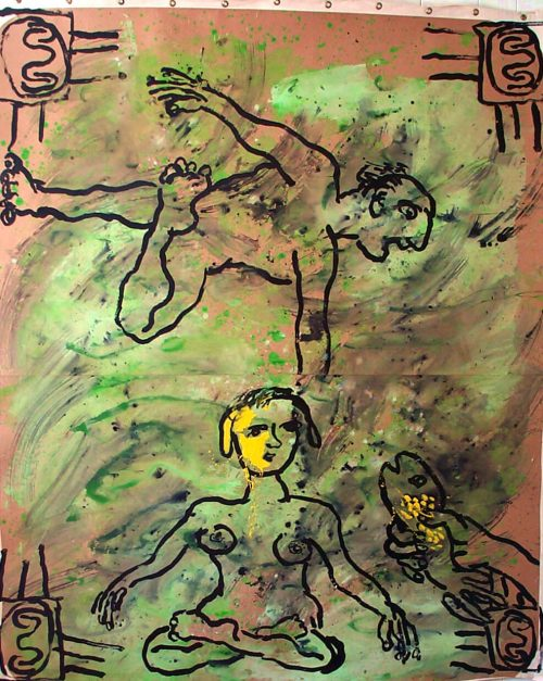 """""""The Gift"""" 2003. Acrylic/Paper/Canvas. 68""""X 60"""""""