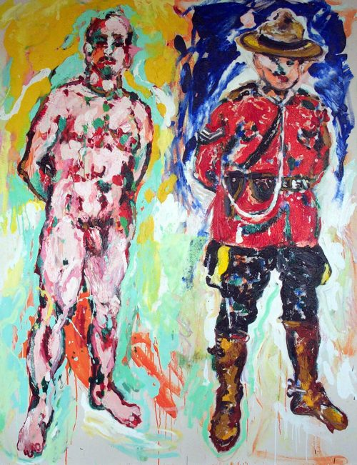 """I am Canadian"" 2003, Oil on Canvas. 68""X 58"""