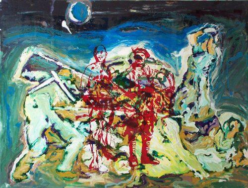 """In Flanders Fields"" 2004, Oil on Duralar/Canvas. 56""X 72"""