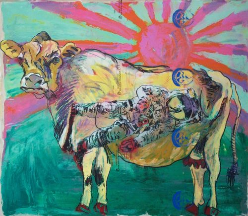 """the AGE OF FISSION cow"" 2014, Oil / Ink / Canvas, 68in.X 72in."