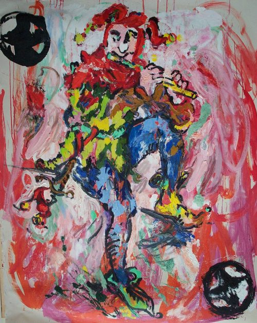 """The Joker with Logos"" 2004, Oil on Canvas. 80""X 72"""