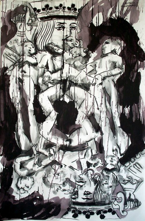 """Kamasutra King"" 2006, Charcoal/Acrylic on Paper. 40"" X 60"""