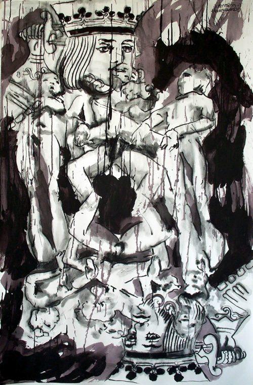 """""""Kamasutra King"""" 2006, Charcoal/Acrylic on Paper. 40"""" X 60"""""""