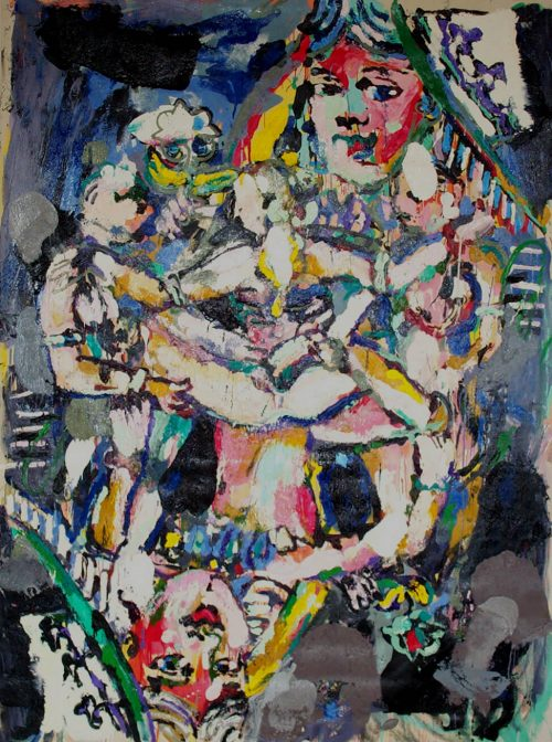 """""""Kamasutra Queen With Servants"""" 2006, Oil on Canvas. 80""""X 68"""""""