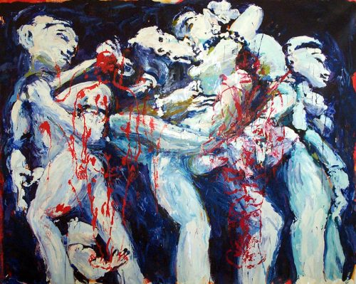 """Kama Sutra War"" 2004, Oil on Canvas. 102""X 118"""