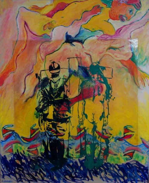 """Landing At Dieppe"" 2006, Oil, Duralar, Canvas. 56""X 48"""