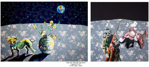 """Light Side / Dark Side of the Moon"" 2008. Wallpaper, Oil on Canvas. 62""X 150"""