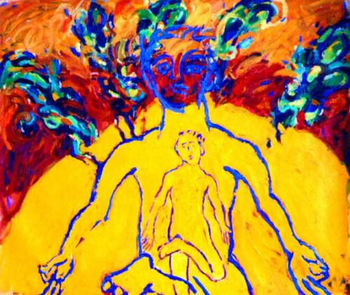 """""""Man of Nature, Nature of Man"""" 2002. Oil on Canvas. 62""""X 68"""