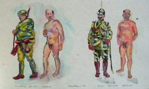 """""""Mao - Hitler"""" 2005, Watercolor. 13""""X 22"""""""