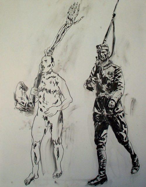 """The Bones of Montenegro"" 2004, Pencil on Paper. 40""X 32"""
