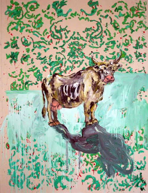 """Morning Cow"" 2005, Oil / Canvas. 68""X 60"""