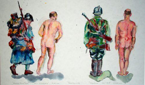 """""""Muslim Slave Trade - Napoleon"""" 2005, Watercolor. 13""""X 22"""""""