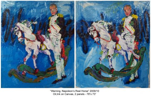 """Warning, Napoleon's Real Horse"" 2008, Oil / Canvas Diptych, each panel 78""X 72"""