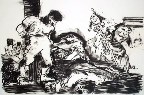 """oh... this is jolly good fun"" 2004, Charcoal on Paper. 40""X 60"""