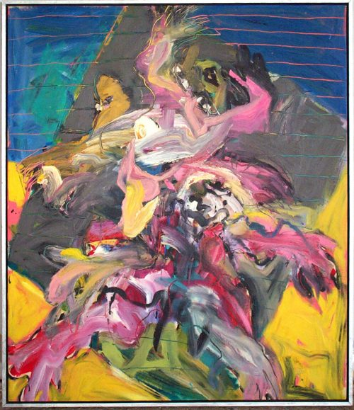 """On The Beach With Bacon"" 1983. Oil on Canvas. 56""X 48"""