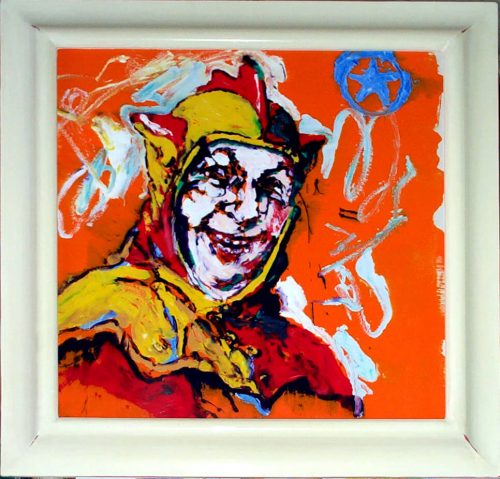 """Orange Jester"" 2004. Oil on Duralar/Canvas. 28""X 28"""