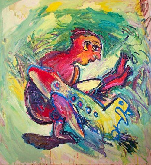 """Yoga Pilot"" 2001. Oil on Canvas. 56""X 56"""