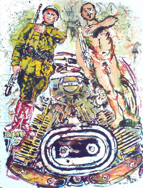 """Piston Kings"" 2005, Acrylic on Paper/Canvas. 105""X 80"""