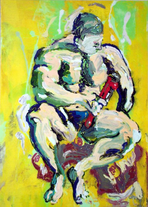 """Plumber / Thinker"" (after Rodin) 2006, Oil / Canvas. 78"" X 60"""